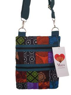 Patchwork pocket messenger bag -Teal