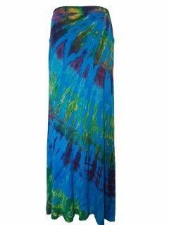 Tie dye long skirt- Turqoise