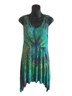 Tie dye sleeveless tunic – Emerald Green