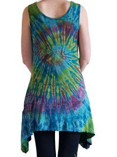 Tie dye sleeveless tunic -Teal