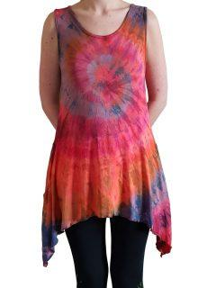 Tie dye sleeveless tunic -Orange