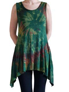 Tie dye sleeveless tunic -Forest Green