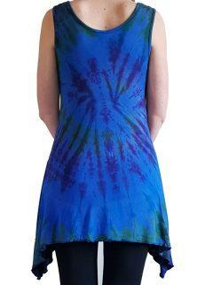 Tie dye sleeveless tunic – Royal Blue