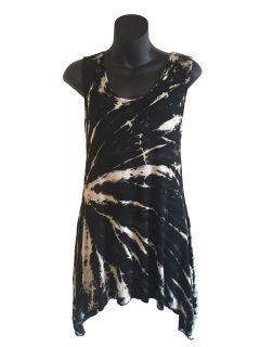 Tie dye sleeveless tunic -Black and White