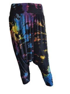 3/4 Tie dye harem trousers – Black