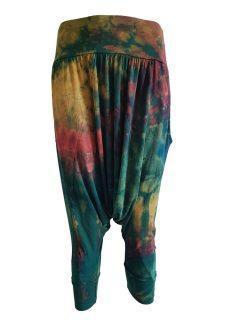 3/4 Tie dye harem trousers – Green