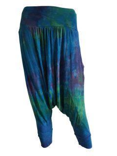 3/4 Tie dye harem trousers – Teal