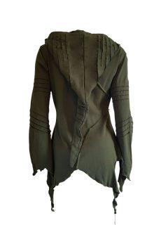 Fleece lined rib cut hoody – Green