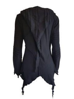 Fleece lined rib cut hoody – Black
