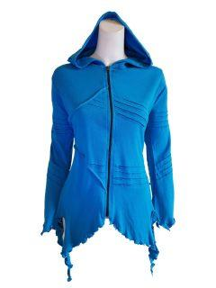 Fleece lined rib cut hoody – Blue