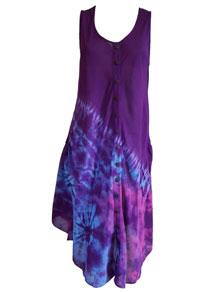 Asymmetric button dress – Purple