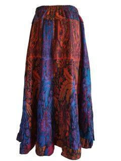 Cashmillon Skirt- Teal leaf print