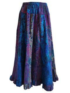 Cashmillon Skirt- Blue leaf print