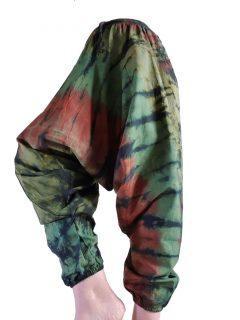 Shyama Cotton Tie dye harem trousers: Green