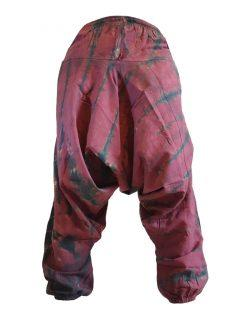 Shyama Cotton Tie dye harem trousers: Red