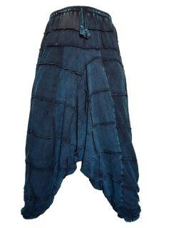 Square stonewash harem trousers: Blue