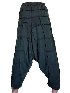 Square stonewash harem trousers: Green