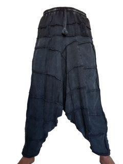 Square stonewash harem trousers: Black