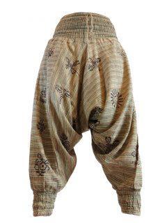 Stonewash Print Harem trousers: Green