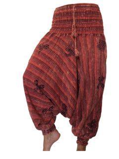 Stonewash print Harem trousers: Red
