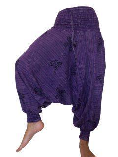 Stonewash Print Harem trousers: Purple