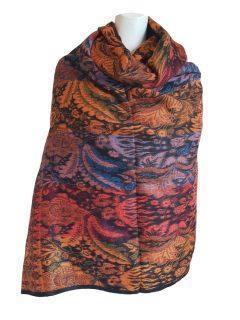 Cashmillon shawl- Black/ Orange leaf print