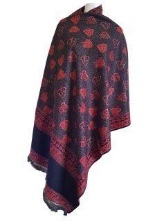 Cashmillon shawl- Black/ red leaf design