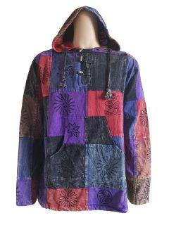 Hooded patchwork shirt
