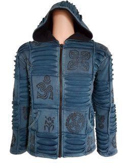 Patchwork Ribbed Jacket – Blue