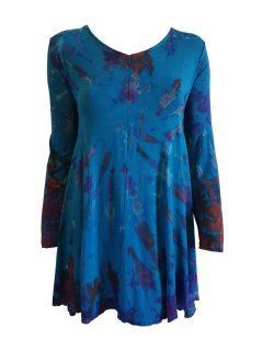 Tie dye long sleeved tunic – Teal