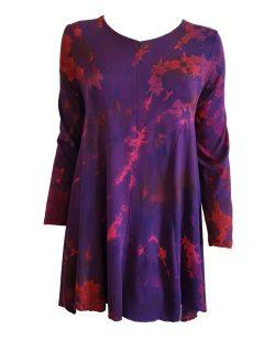 Tie dye long sleeved tunic – Deep Purple