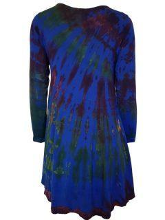 Tie dye long sleeved tunic – Royal Blue