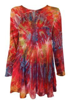 Tie dye long sleeved tunic – Crimson
