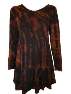 Tie dye long sleeved tunic – Black and Orange