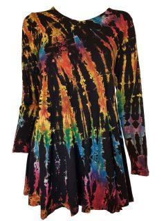 Tie dye long sleeved tunic – Black Full tie dye