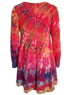 Tie dye long sleeved tunic – Red