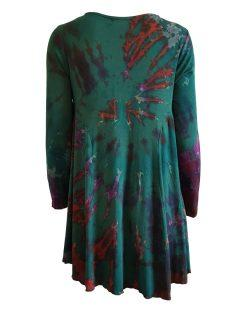 Tie dye long sleeved tunic – Forest Green
