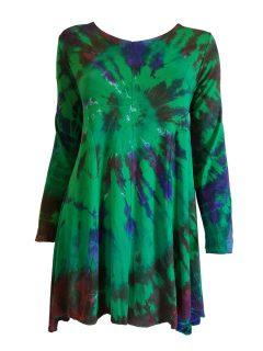 Tie dye long sleeved tunic – Emerald Green