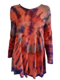 Tie dye long sleeved tunic – Orange