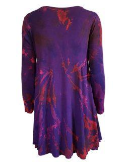 Tie dye long sleeved tunic – Deep Purple