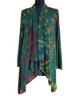 Tie dye Waterfall Cardigan- Forest Green