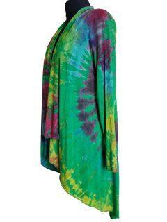 Tie dye Waterfall Cardigan- Emerald Green