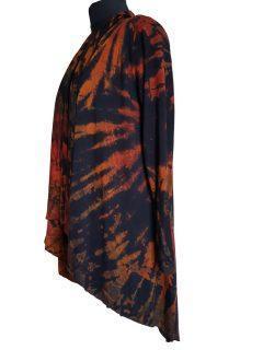 Tie dye Waterfall Cardigan Black and Orange