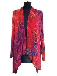 Tie dye Waterfall Cardigan- Red