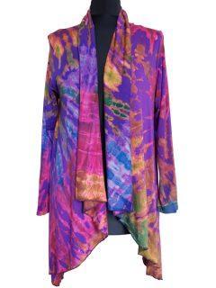Tie dye Waterfall Cardigan- Purple