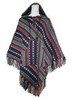 Black and Red Striped poncho
