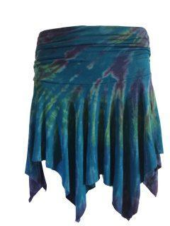 Tie dye pixie mini skirt – Teal