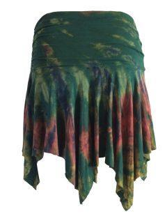 Tie dye pixie mini skirt – Forest Green