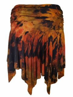 Tie dye pixie mini skirt – Black and Orange