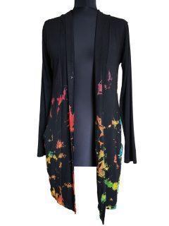 Tie dye Cardigan- Black Half Tie dye